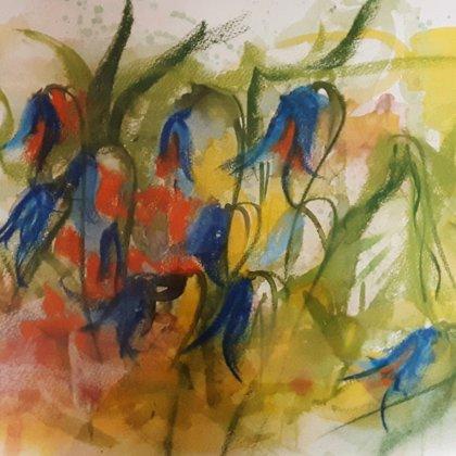 BLUEBELLS - Pastel on paper - 100x80