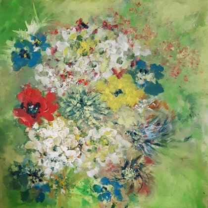 FROM THE GARDEN - Acrylic colours on canvas - 80x80