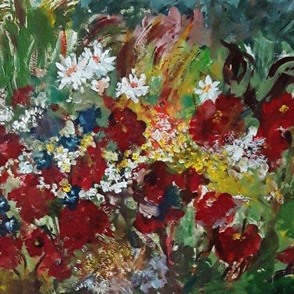FLOWERS WE LOVE - Acrylic colours on hardboard - 60x50