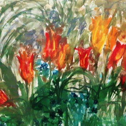 WILD TULIPS - Pastel on paper - 100x80