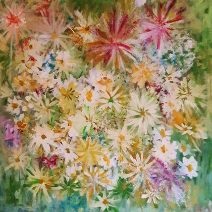 STAR BLOSSOMS - Acrylic colours on canvas - 90x90