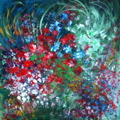 BOUQUET - Acrylic colours on canvas - 80x80