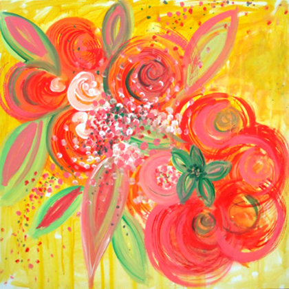 FLOWERS FOR BARBIE -  Acrylic colours on canvas -  100x100